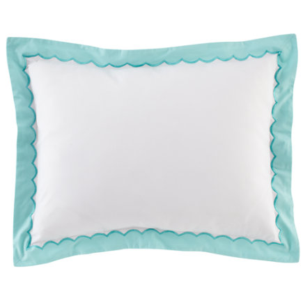 Girls Pillow Shams: Teal Scalloped Sham - Teal Extended Stay Sham