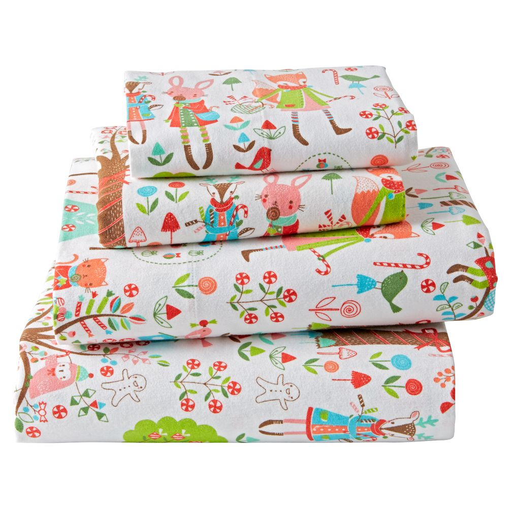 Candy Forest Flannel Full Sheet Set