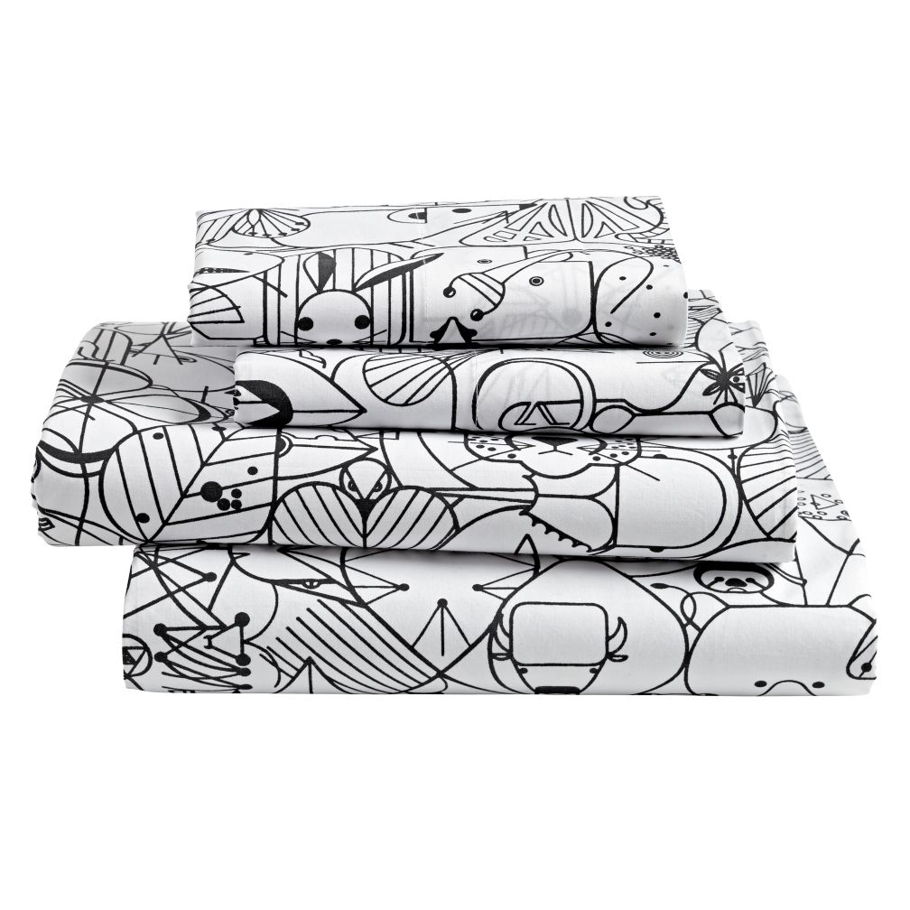 Organic Charley Harper Animal Queen Sheet Set