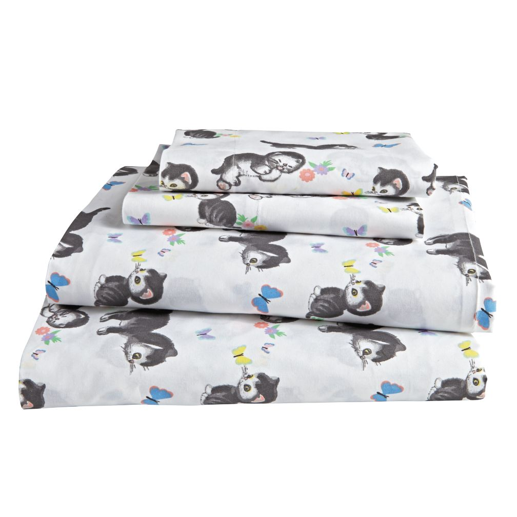 Shy Little Kitten Sheet Set (White)
