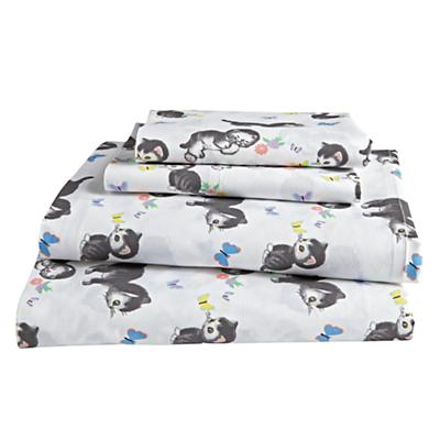 Organic Shy Little Kitten White Sheet Set