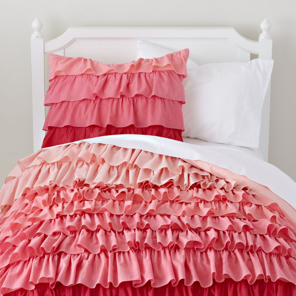 Girls Bedding: Pink Ombre Ruffled Bedding Set