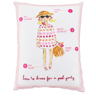 Fashionista Throw Pillow (Pool)