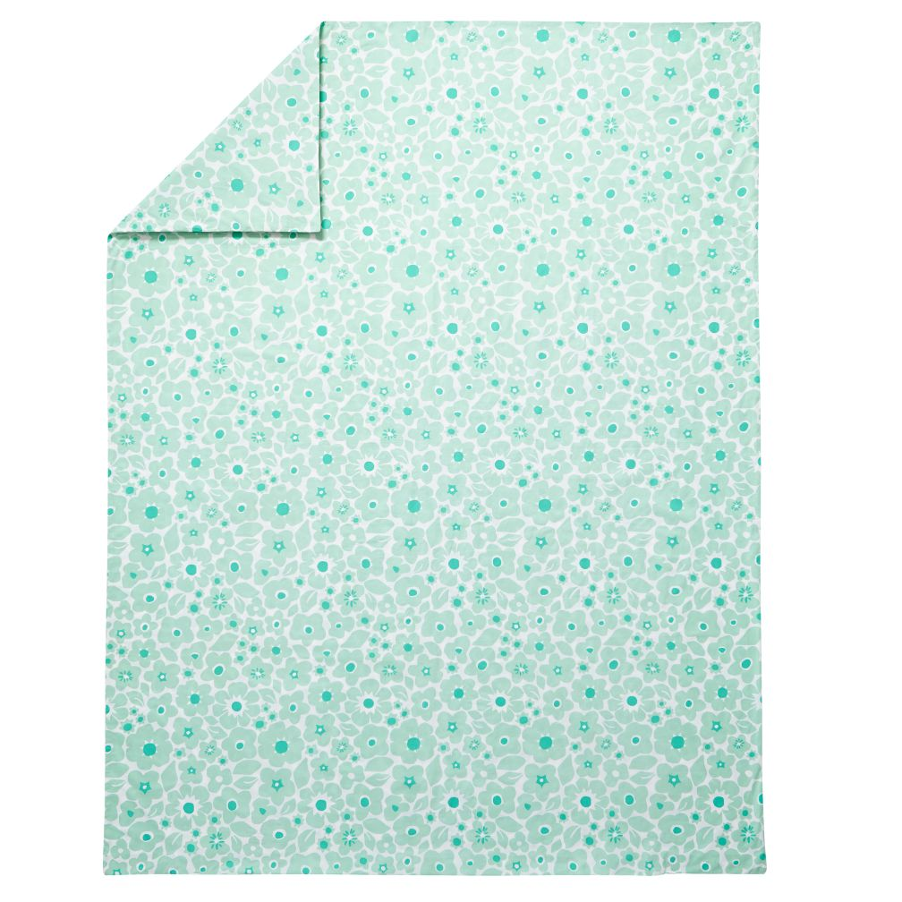 Full-Queen Go Lightly Floral Duvet Cover (Mint)