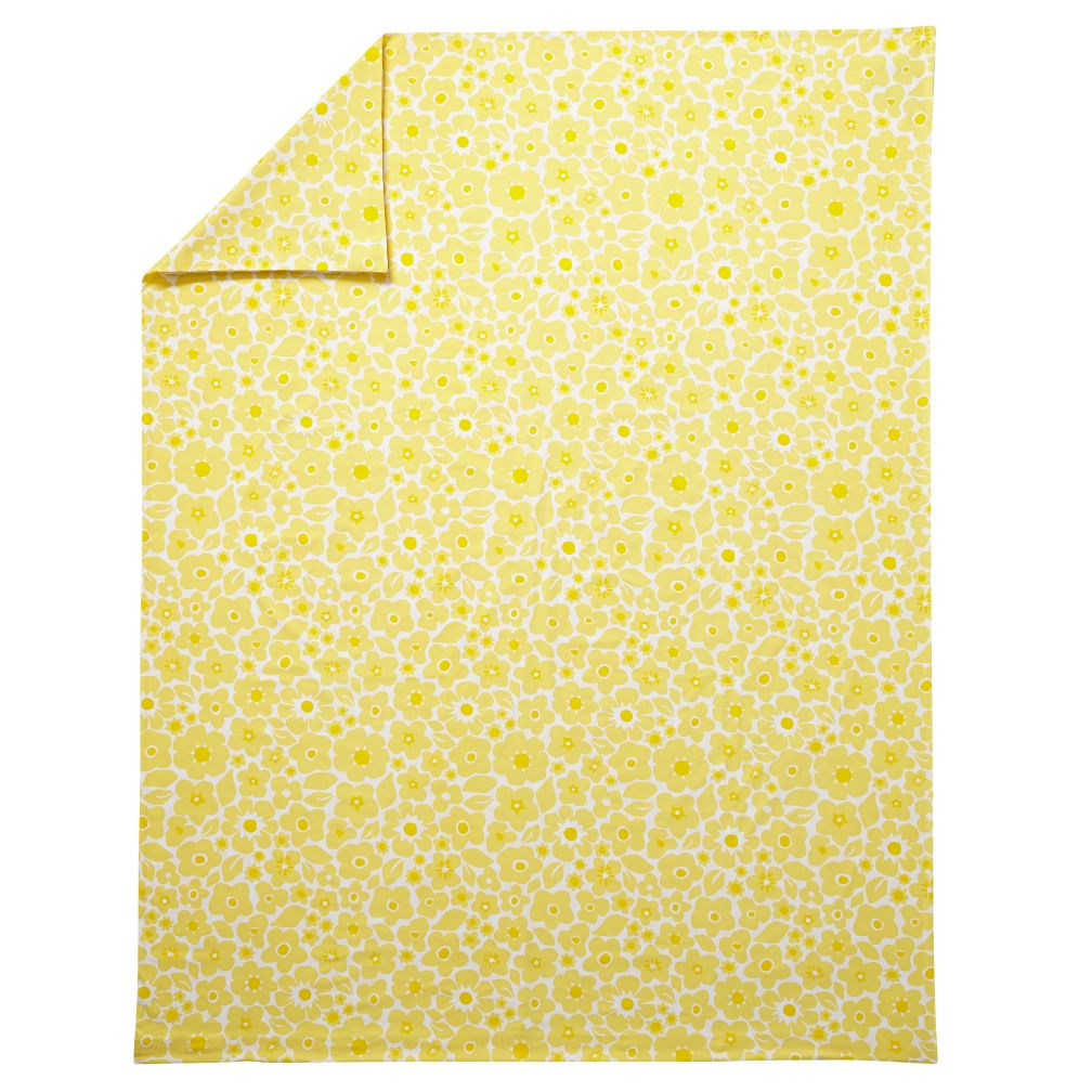 Full-Queen Go Lightly Floral Duvet Cover (Yellow)