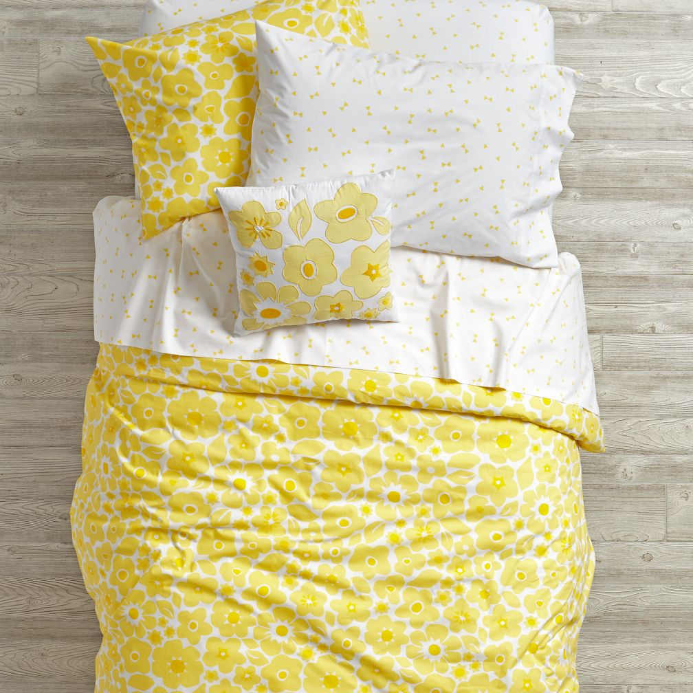 Go Lightly Floral Duvet Cover (Yellow)