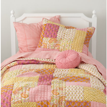 Girls bedding pink and yellow patchwork quilt bedding - Pink and yellow comforter ...
