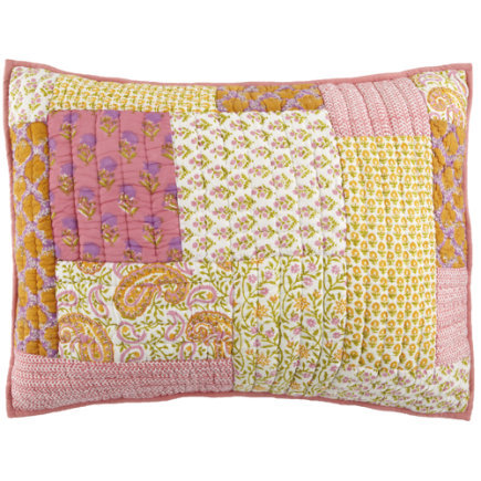Girls Pillow Shams: Pink and Yellow Patchwork Quilt Sham - Handpicked Patchwork Sham