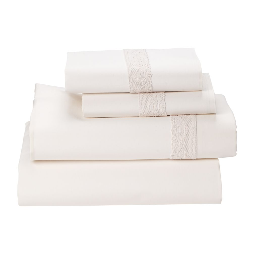 Queen Lacy Sheet Set (White)