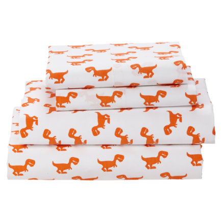 Little Prints Kids Sheet Set (orange Dino) - Organic Little Prints Orange Dino Twin Sheet Set