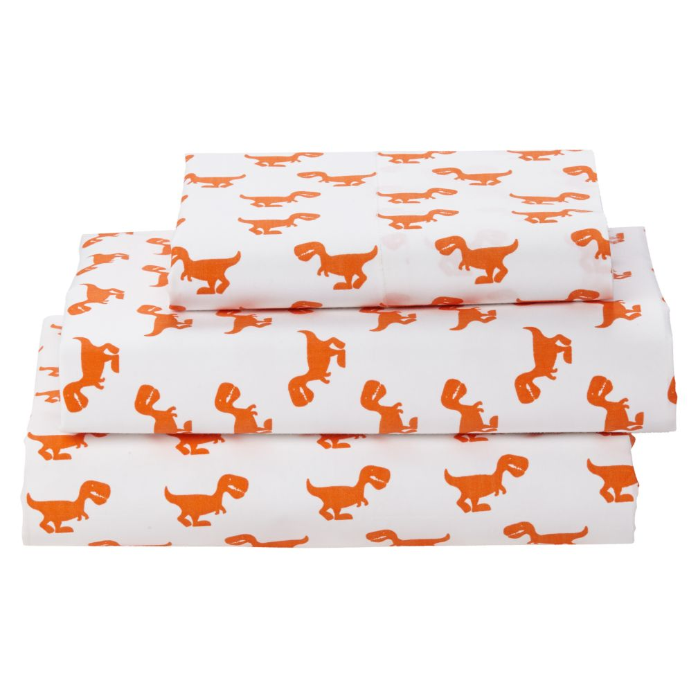 Twin Little Prints Sheet Set Orange Dinosaur The Land