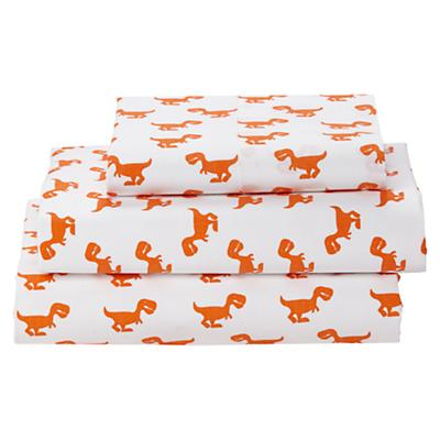 Twin Little Prints Sheet Set (Orange Dinosaur)