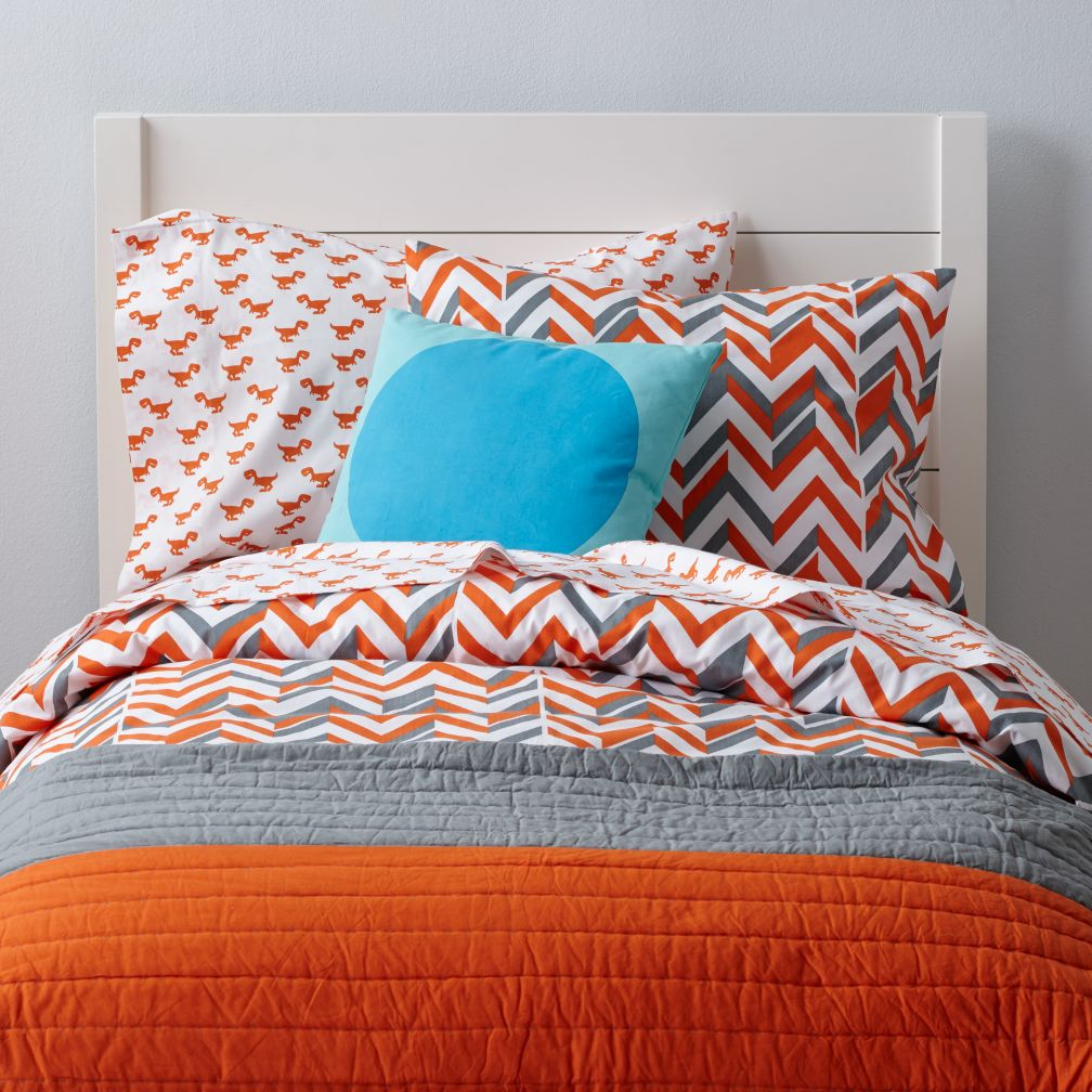 Little Prints Kids Duvet Cover Orange Zig Zag The Land