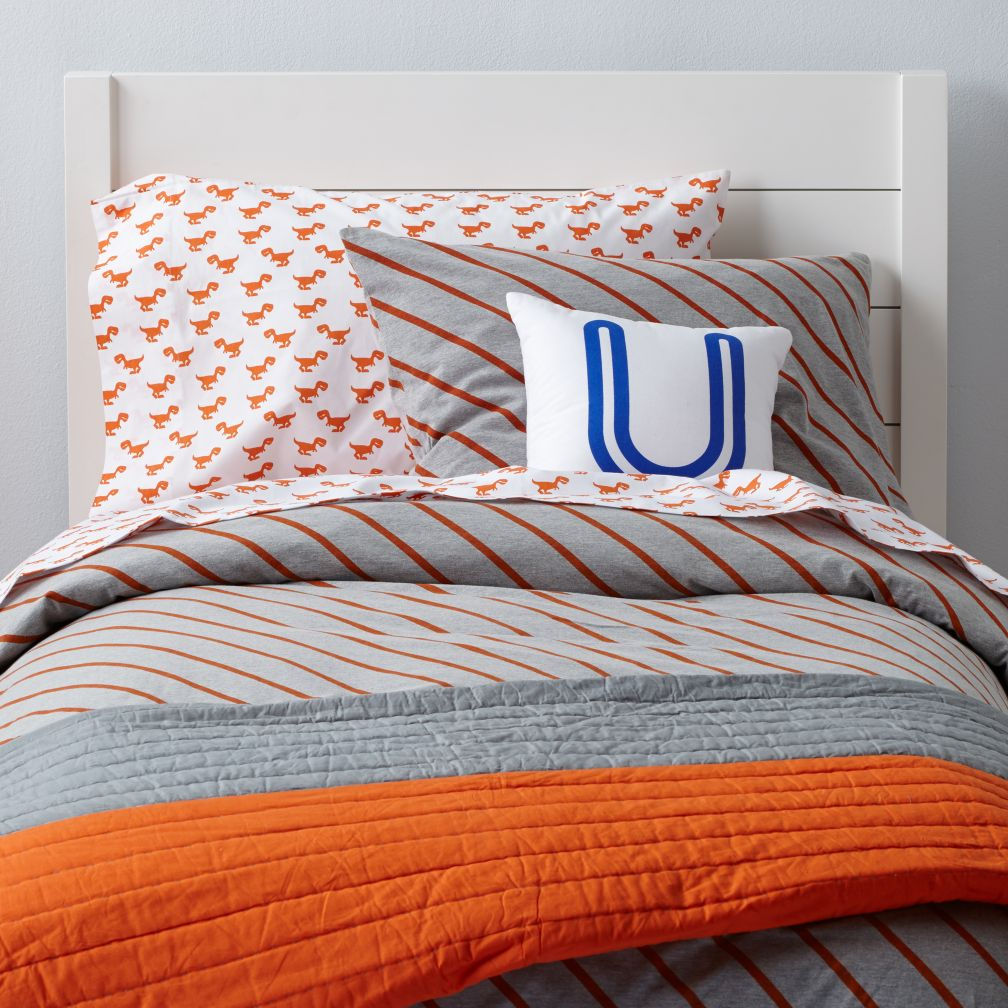 Little Prints Duvet Cover (Orange Stripe)