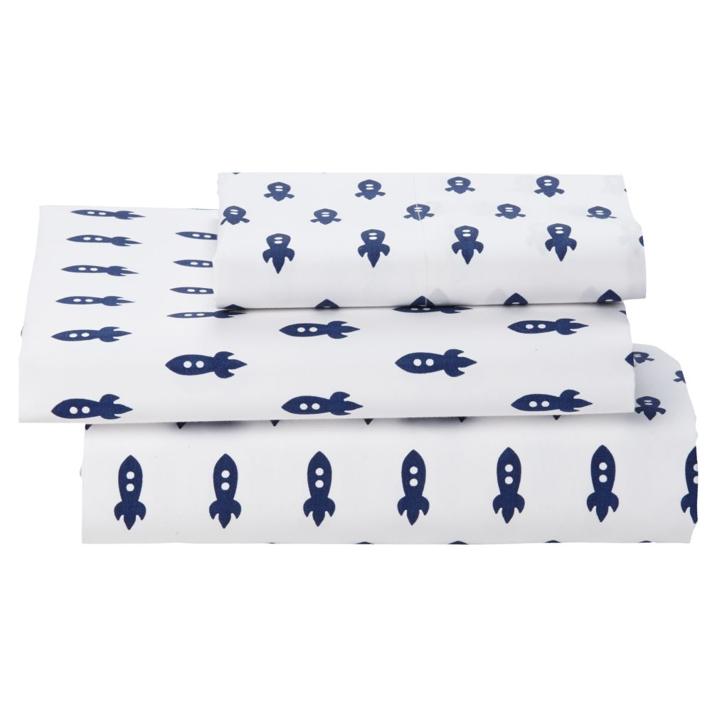 Twin Little Prints Sheet Set (Blue Rocket)