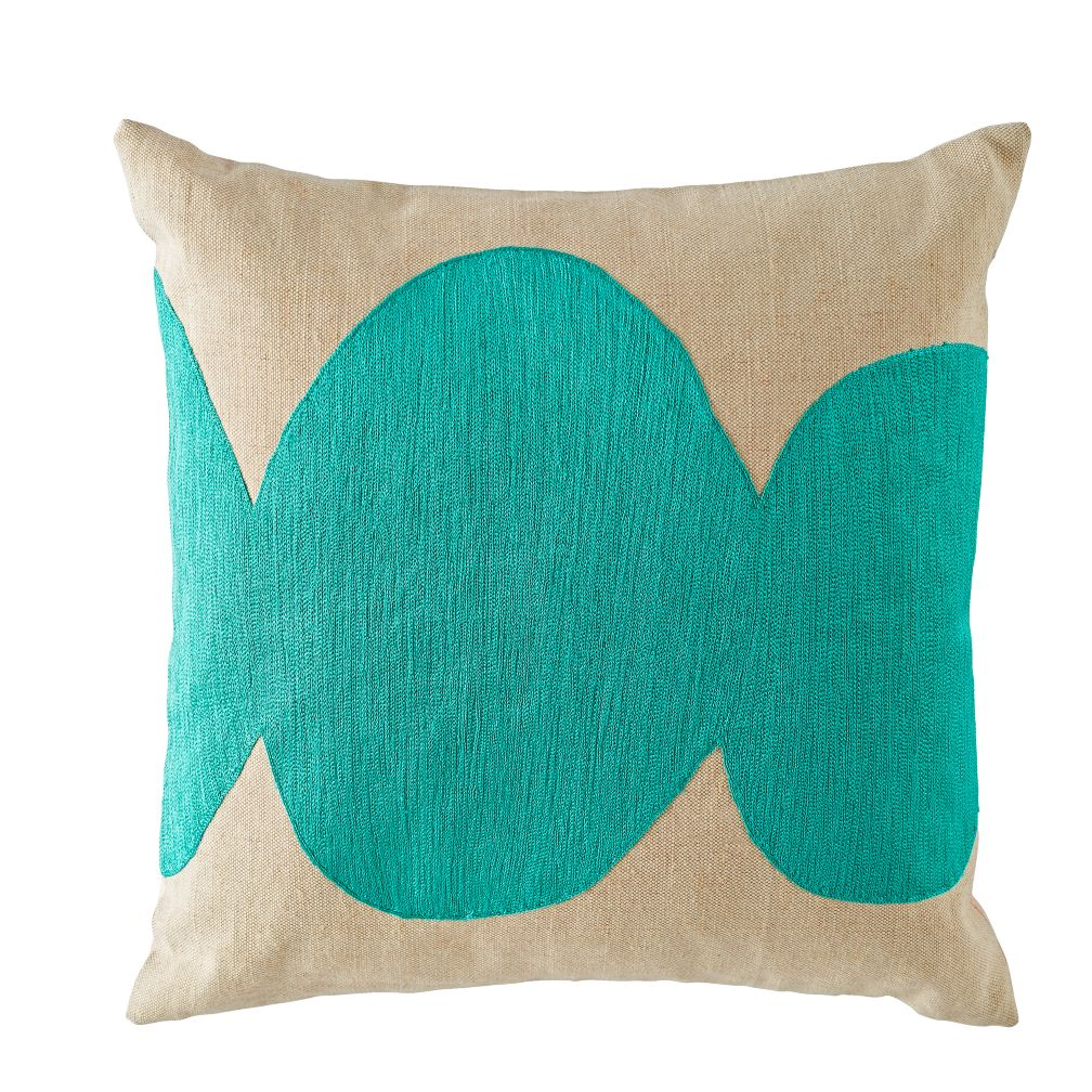 Mod Botanical Throw Pillow (Aqua)