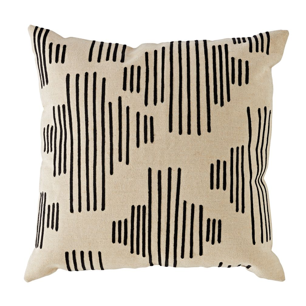 Mod Botanical Throw Pillow Cover (Black Stripe)
