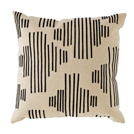 Mod Botanical Throw Pillow (Black Stripe) - Black Mod Botanical Throw Pillow