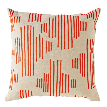 Mod Botanical Throw Pillow (Red Stripe) - Red Mod Botanical Throw Pillow