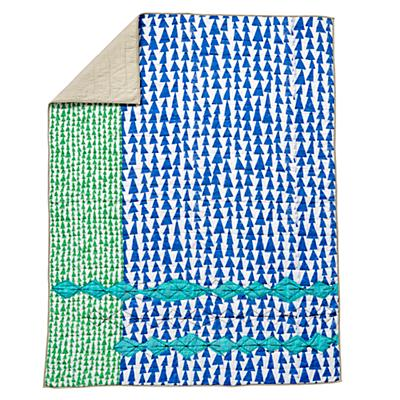 Twin Mod Botanical Quilt (Blue)