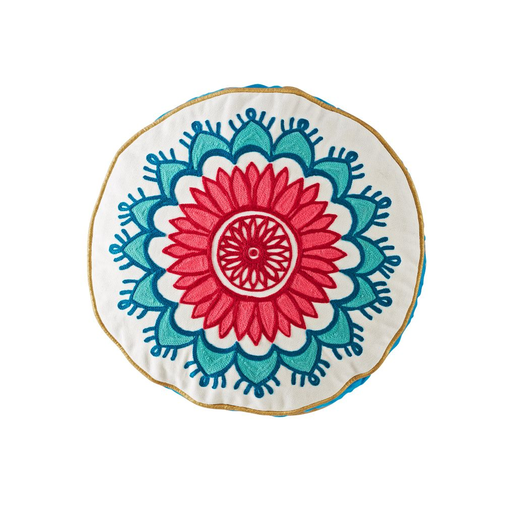 Modern Mosaic Round Floral Pillow Cover