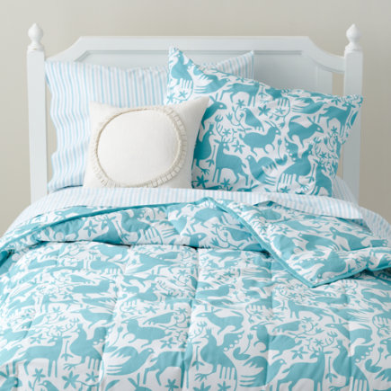 Kids Bedding: Teal Otomi Animals Girls Bedding - Twin Teal Animal Comforter