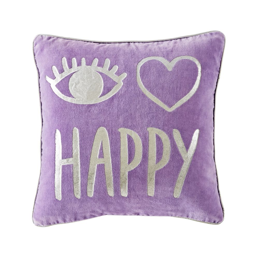 I Heart Happy Throw Pillow
