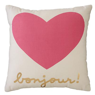 Bonjour Throw Pillow (Pink)