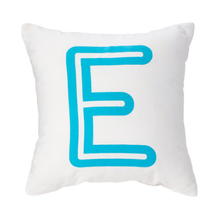 - Aqua E Bright Letter Throw Pillow