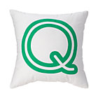 "Green ""Q"" Bright Letter Throw Pillow"