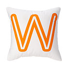 "Orange ""W"" Bright Letter Throw Pillow"