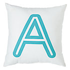 "Aqua ""A"" Bright Letter Throw Pillow"