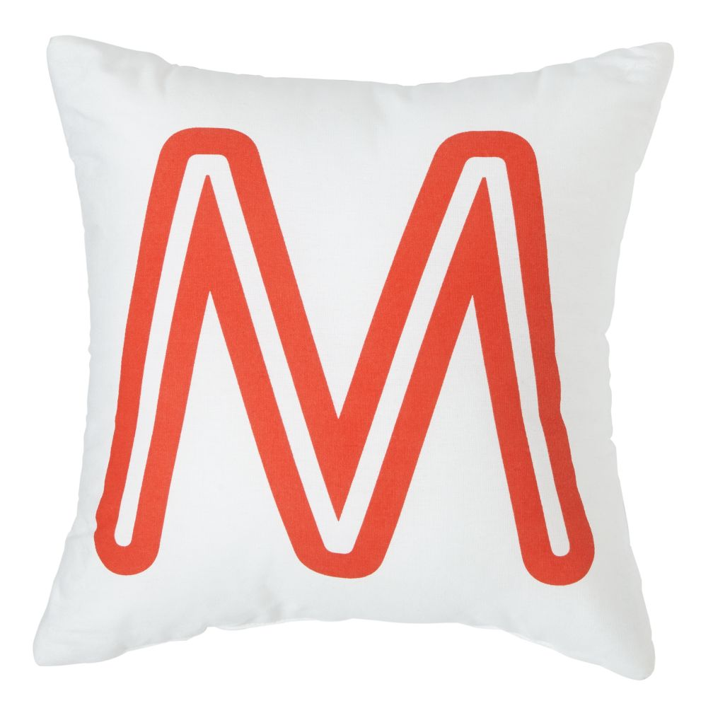 'M' Bright Letter Throw Pillow
