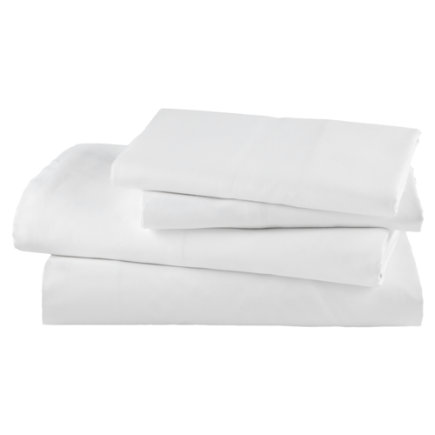 Kids Bedding: White Cotton Sateen Sheet Set - Twin White Polar Bear Sheet SetIncludes fitted sheet, flat sheet and one pillowcase