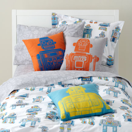 Kids Throw Pillows: Kids Robot Throw Pillows - Grey Robot Pillow