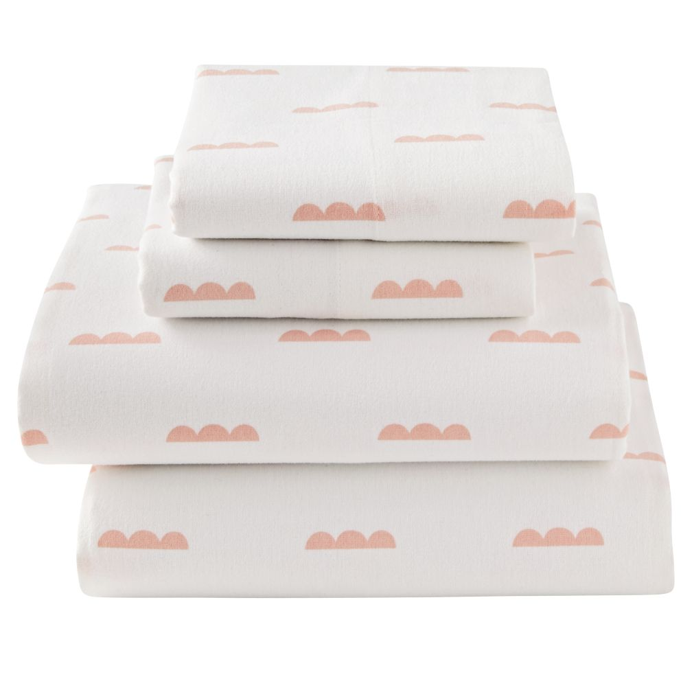 Full Rosy Cloud Flannel Sheet Set