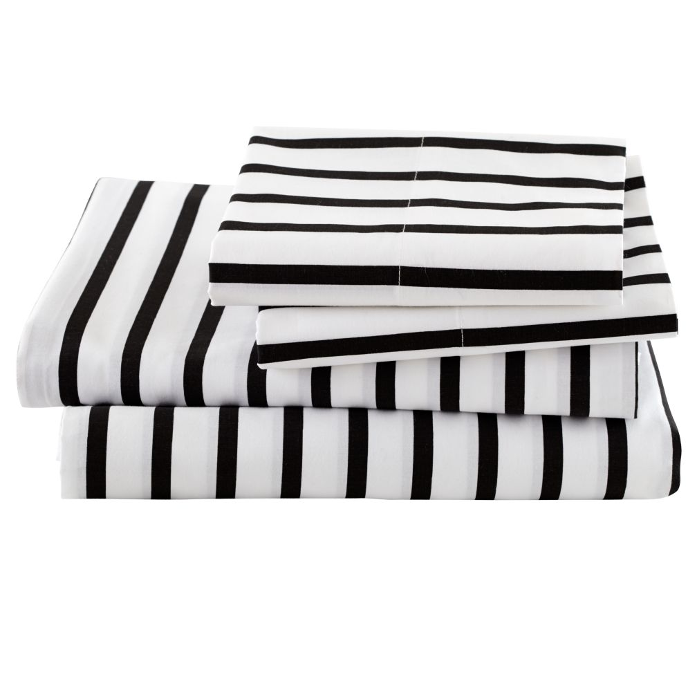 Organic Noir Stripe Full Sheet Set