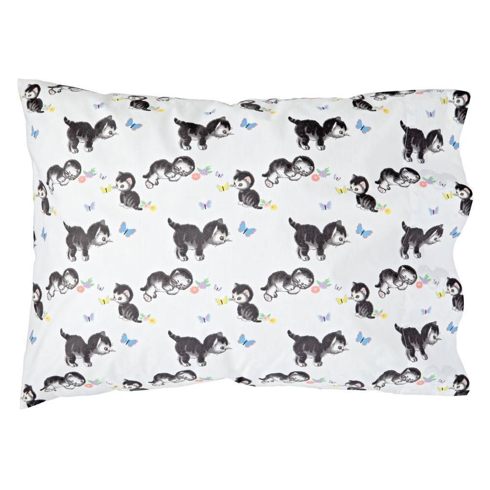 Shy Little Kitten White Pillowcase