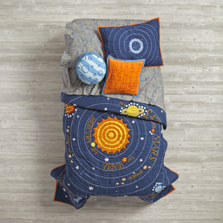 Kids Bedding: Kids Blue Solar System Bedding - Twin Solar System Quilt