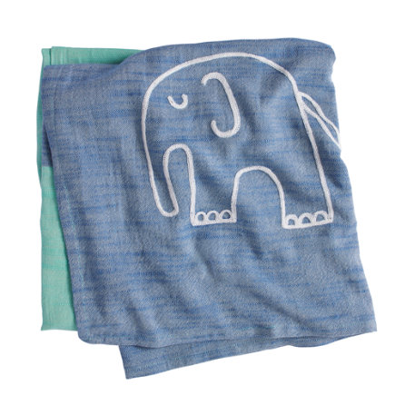 Mod Elephant Swaddle Blanket - Blue Elephant Mod Menagerie Blanket
