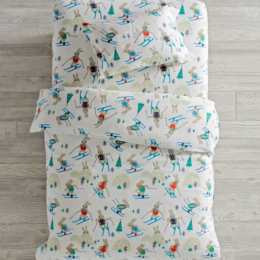 Bunny Hill Flannel Toddler Bedding and Duvet Cover