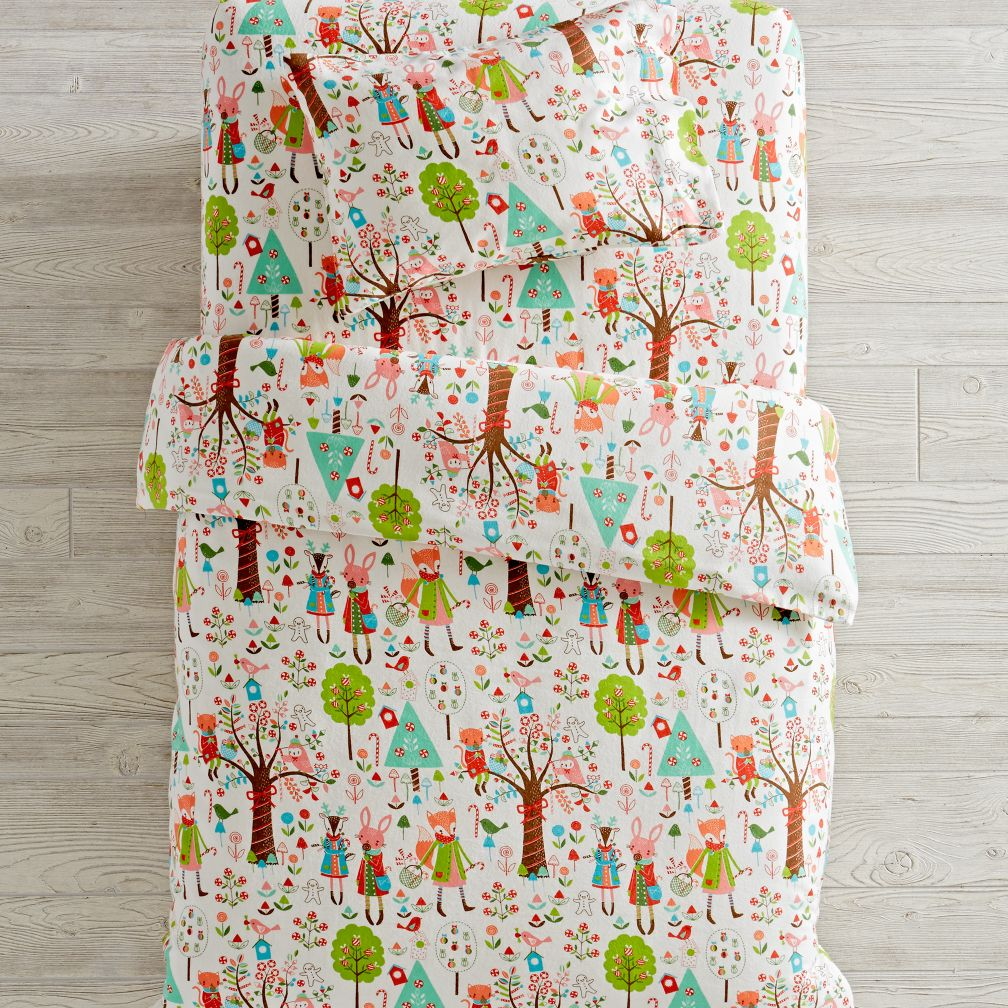 Candy Forest Flannel Toddler Bedding and Duvet Cover