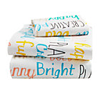 Early Edition Word Toddler Sheet SetIncludes fitted sheet, flat sheet and one toddler pillowcase