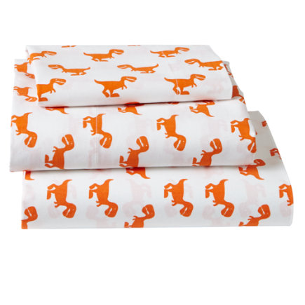 Orange Dinosaur Little Prints Toddler Sheet Set Includes fitted sheet, flat sheet and one toddler pillowcase