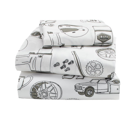Pit Crew Toddler Sheet SetIncludes fitted sheet, flat sheet and one toddler pillowcase