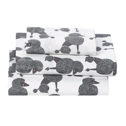 Poodle Party Toddler Sheet SetIncludes fitted sheet, flat sheet and one toddler pillowcase
