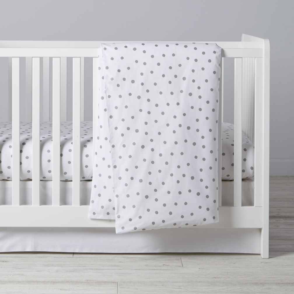 Silver Dot Crib Bedding