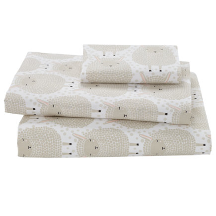Sheepish Toddler Sheet SetIncludes fitted sheet, flat sheet and one toddler pillowcase