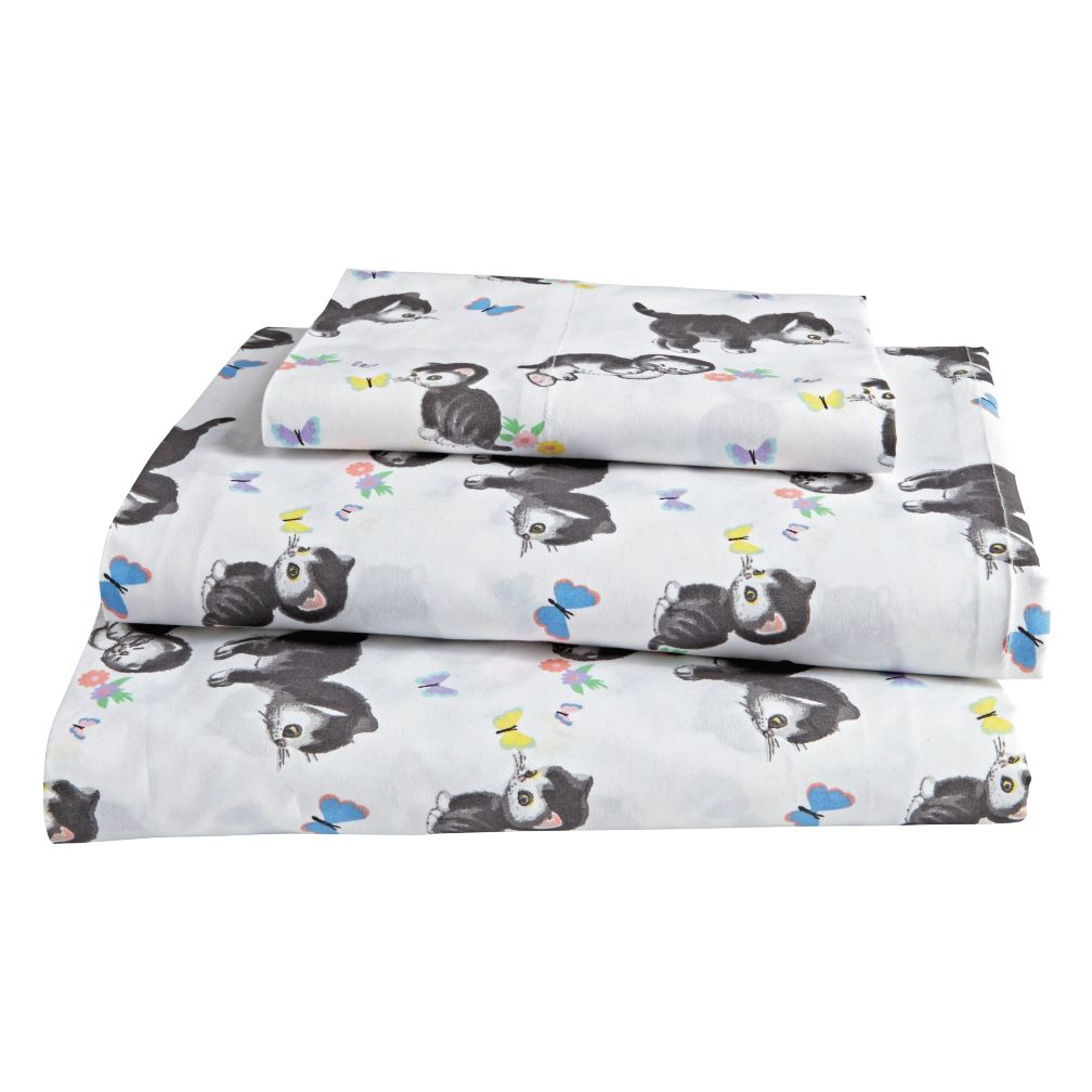 Twin Shy Little Kitten Sheet Set (White)