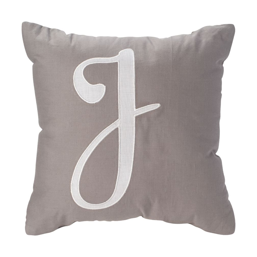'J' Typeset Throw Pillow